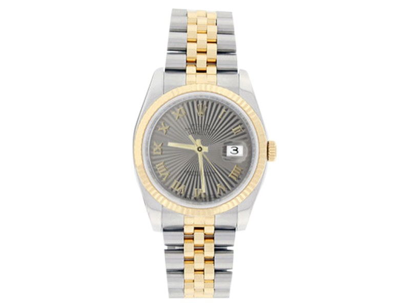 Rolex Mens Stainless Steel & 18K Gold Datejust 116233 Silver Sunburst Roman Dial Watch