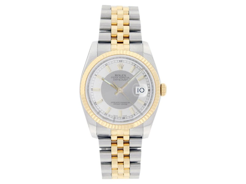 Rolex Mens Stainless Steel & 18K Gold Datejust 116233 Silver Tuxedo Stick Dial Watch