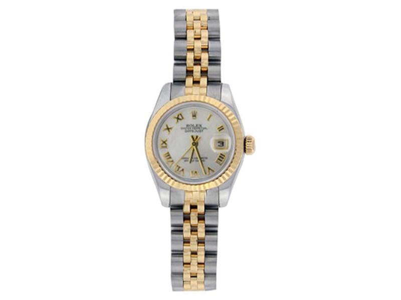 Rolex Datejust 179173 Stainless Steel & 18K Gold MOP Roman Dial Womens Watch