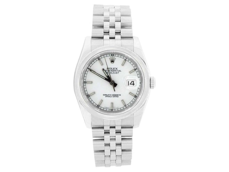 Rolex Datejust 116200 Stainless Steel White Stick Dial Smooth Bezel Mens Watch