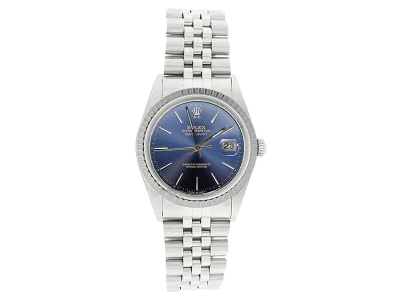 Rolex Datejust 16220 Stainless Steel Blue Stick Dial SS Engine Turn Bezel  Mens Watch