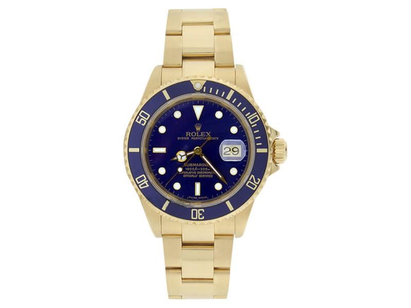 Rolex 16618 18K Gold Submariner Blue Dial Blue Bezel Mint Mens Watch