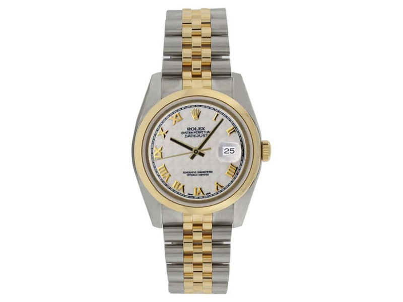 Rolex Datejust 116203 Stainless Steel & 18K Gold White Pyramid Dial Mens Watch