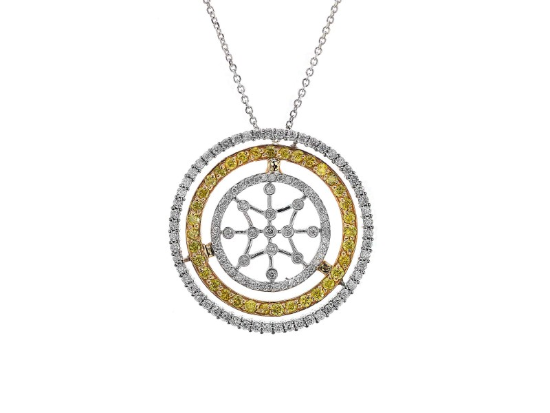14K White And Yellow Gold Diamond Star Necklace
