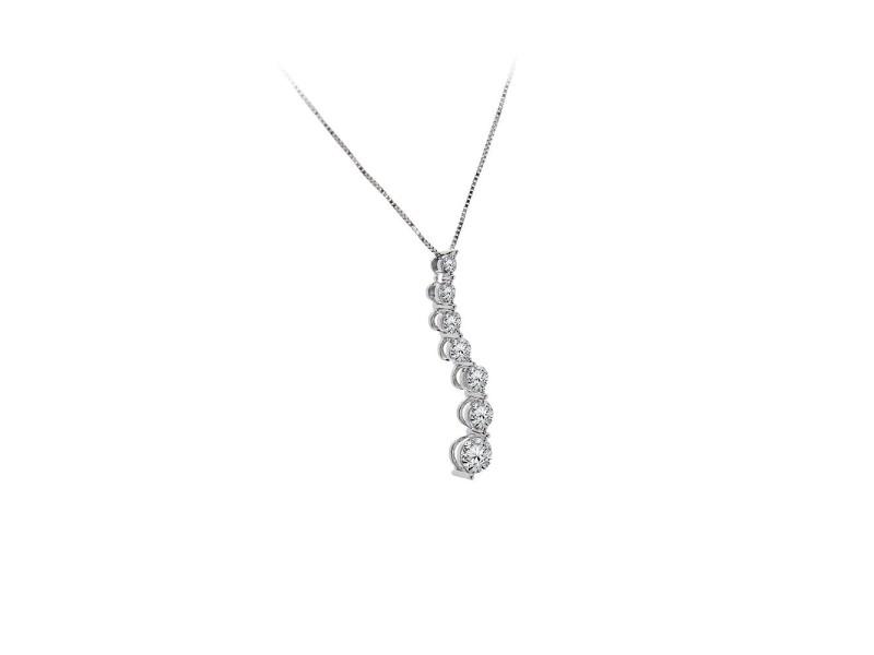 14K White Gold Diamond 7 Stone Pendant & Necklace