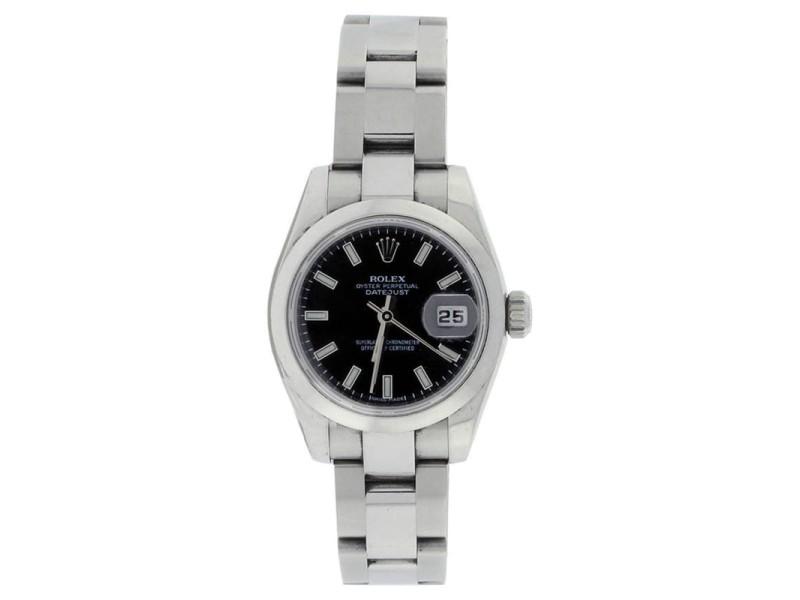 Rolex Datejust 179160 Stainless Steel Black Stick Smooth Bezel Ladies Watch