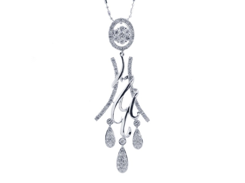 14K White Gold Chandelier Diamond Pendant
