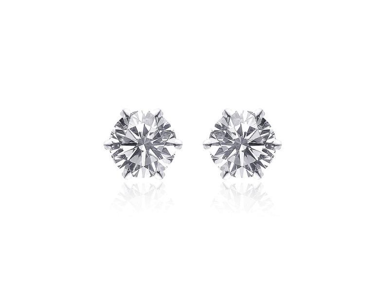 14K White Gold Martini Setting Diamond Stud Earrings