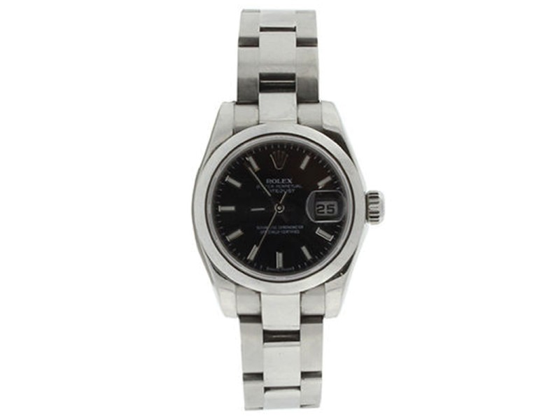 Rolex Datejust 179160 Stainless Steel Oyster Black Stick Dial Smooth Bezel Womens Watch