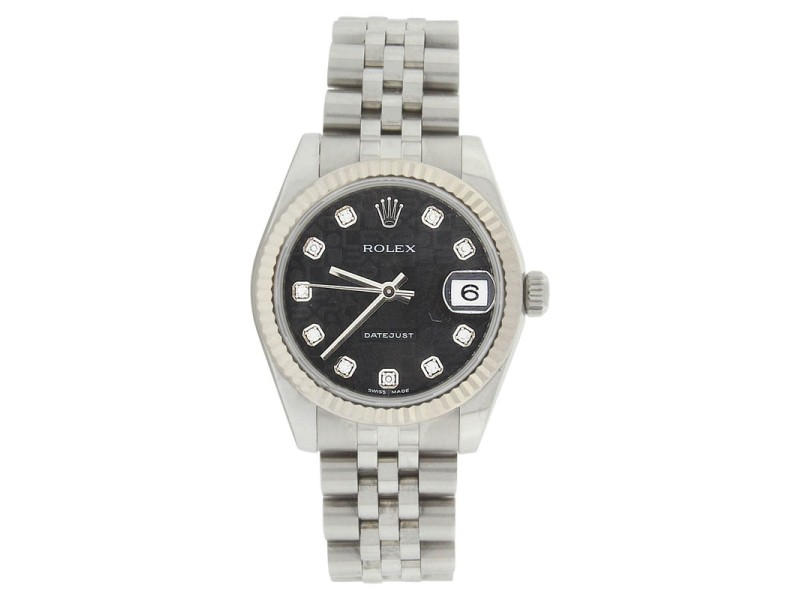 Rolex Datejust Jubilee 178274 Stainless Steel Black Diamond Dial 31mm Midsize Watch