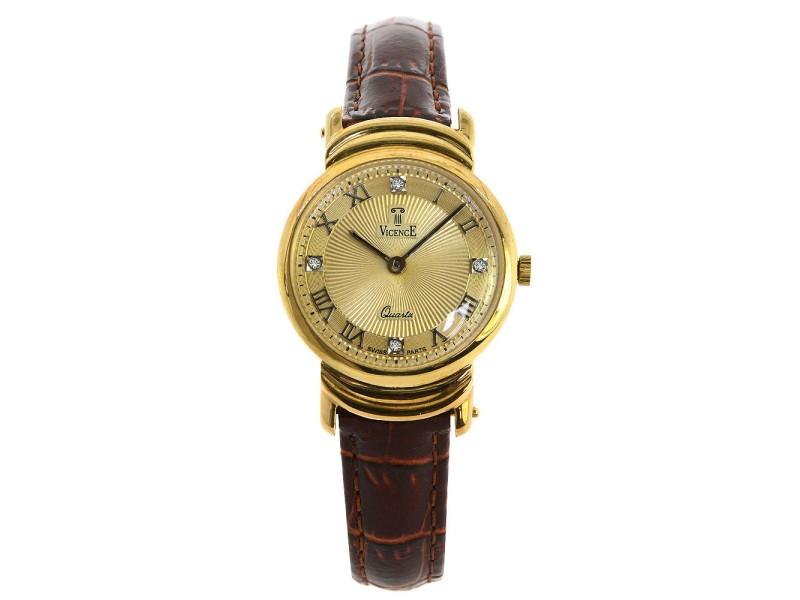 Vicence Milor 585 14K Gold Quartz Swiss Leather Strap 26mm Men Vintage Watch