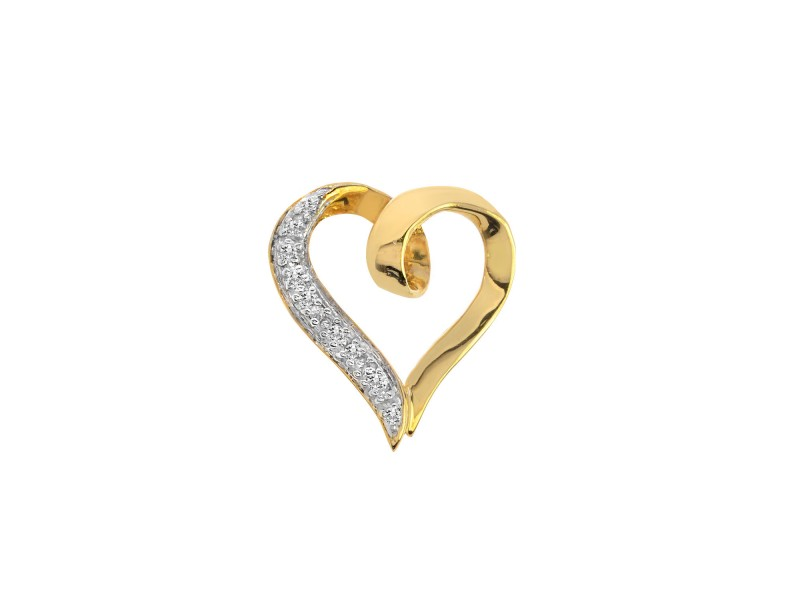 10K Yellow Gold 0.05 ct. Diamond Heart Pendant
