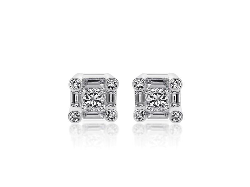 18K White Gold Princess Round Cut Baguette Diamond Earrings