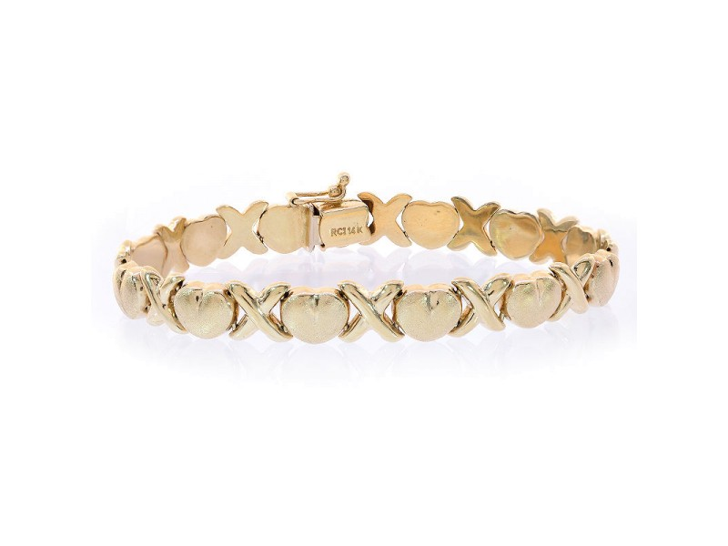 14K Yellow Gold Hearts Bracelet