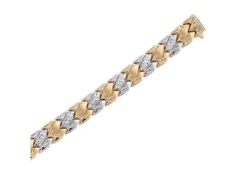 14K Two Tone Gold Fancy Link Bracelet