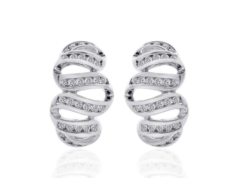 14K White Gold Round Cut Diamond Wave Hoop Earrings