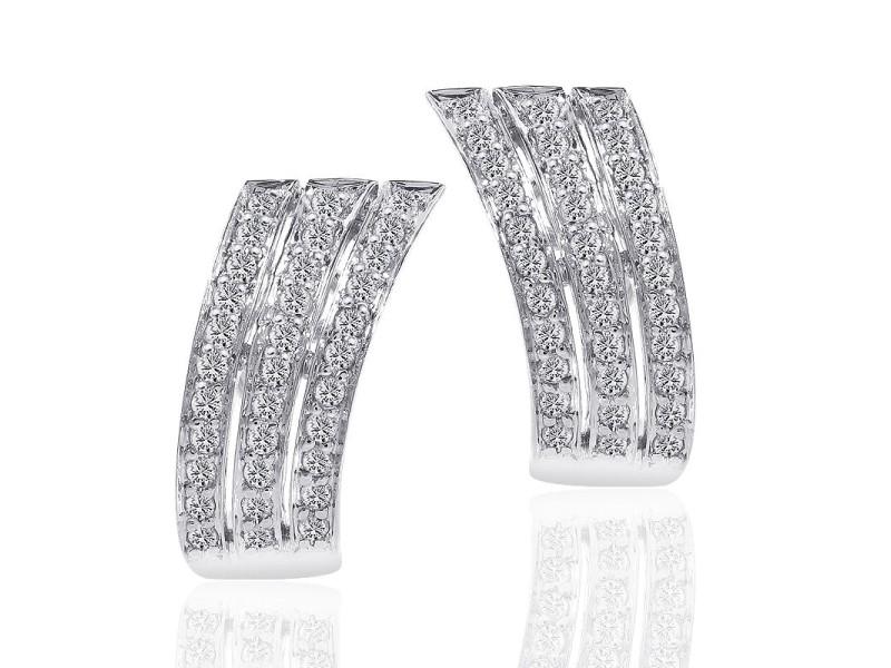 14K White Gold Round Cut Carat Diamond Triple J-Hoop Earrings
