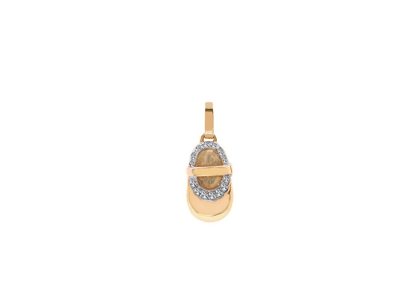 14K Yellow Gold Diamond Birthstone Baby Bootie Pendant