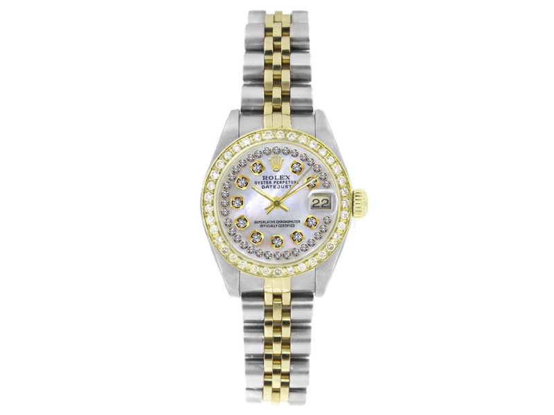 Rolex Datejust 6917 Stainless & Solid Gold MOP String Diamond Dial & Diamond Bezel Womens Watch