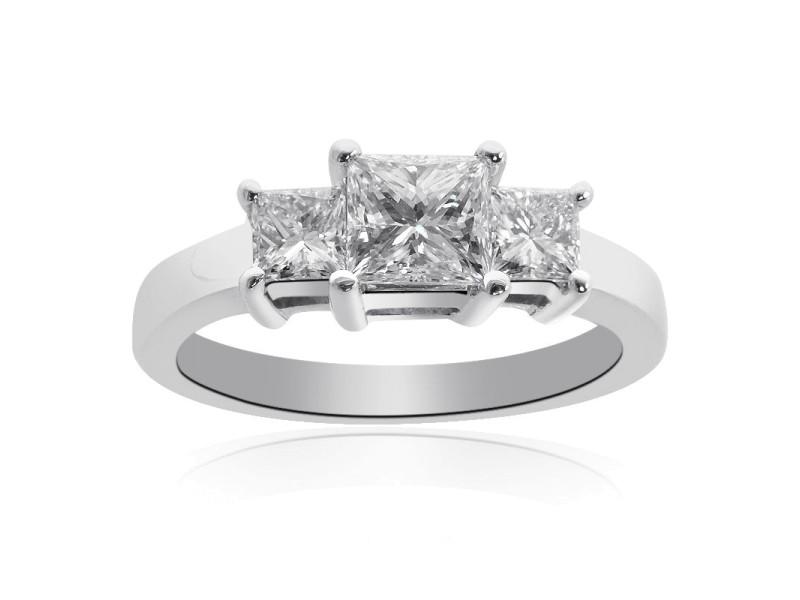 14K White Gold Princess Cut Diamond Three Stone Ring