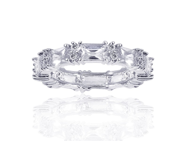 Sterling Silver Cubic Zirconia Eternity Band