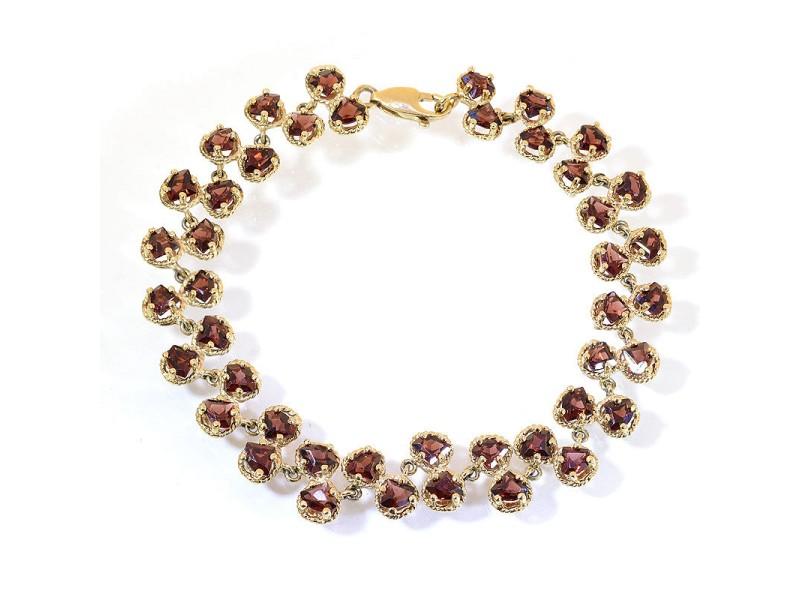 18K Yellow Gold Tone Sterling Silver Shield Spessartite Garnet Bracelet