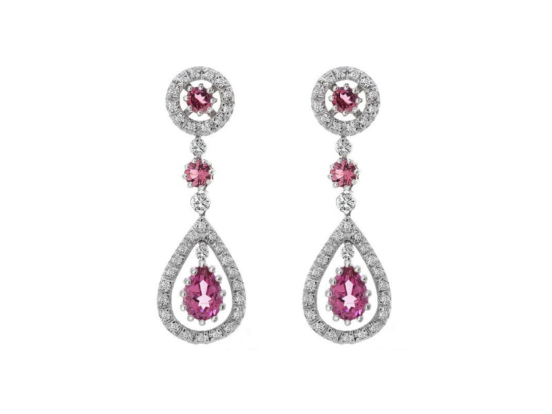14K White Gold Diamond Tourmaline Dangle Drop Earrings