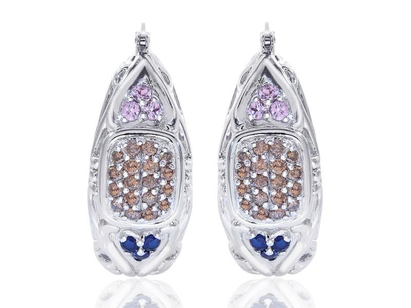 14K White Gold Chocolat Diamonds Sapphires Puffy Oval Hoop Earrings