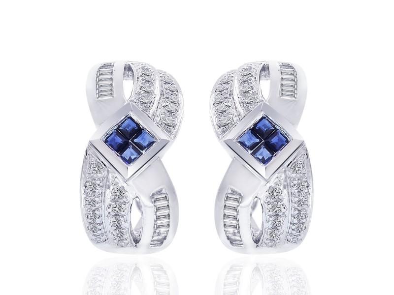 14K White Gold Diamond and Sapphire Cluster J-Hoop Earrings