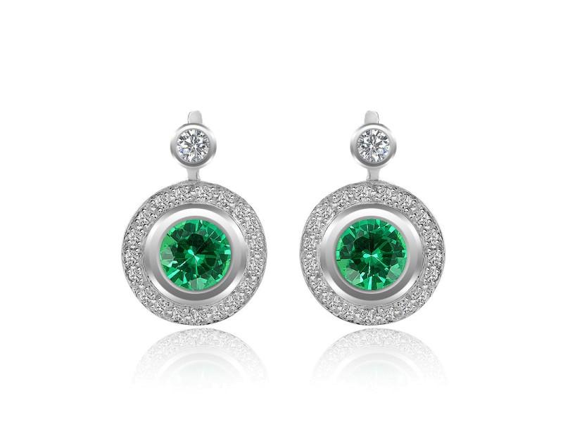 14K White Gold Diamond and Emerald Earrings