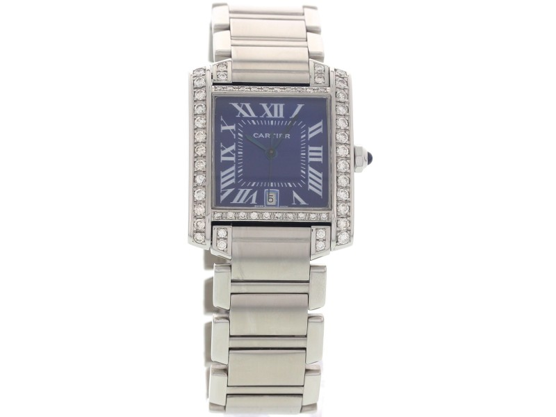 Cartier Tank Francaise 2302 Automatic  with Diamonds & Blue Dial Mens Watch