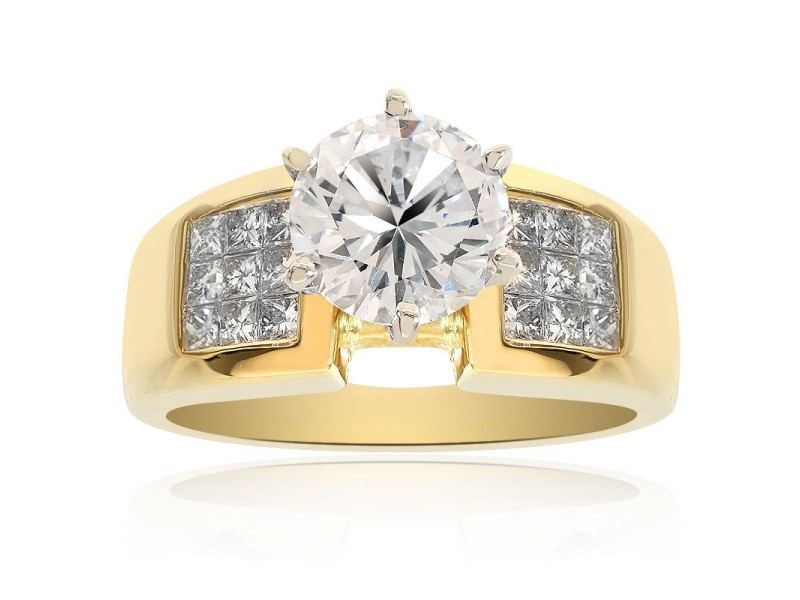 18K Yellow Gold Natural Round Cut Diamond Engagement Ring