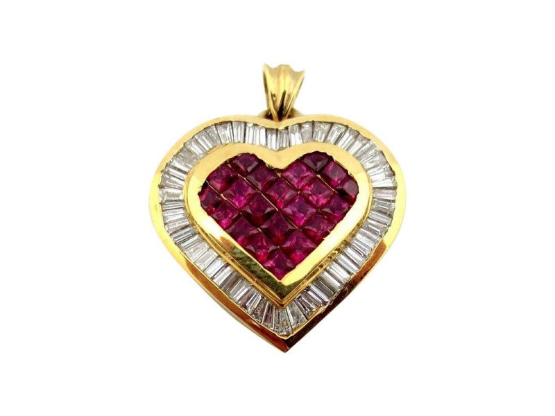 18k Yellow Gold Baguette Cut Diamonds With Princess Ruby Heart Pendant