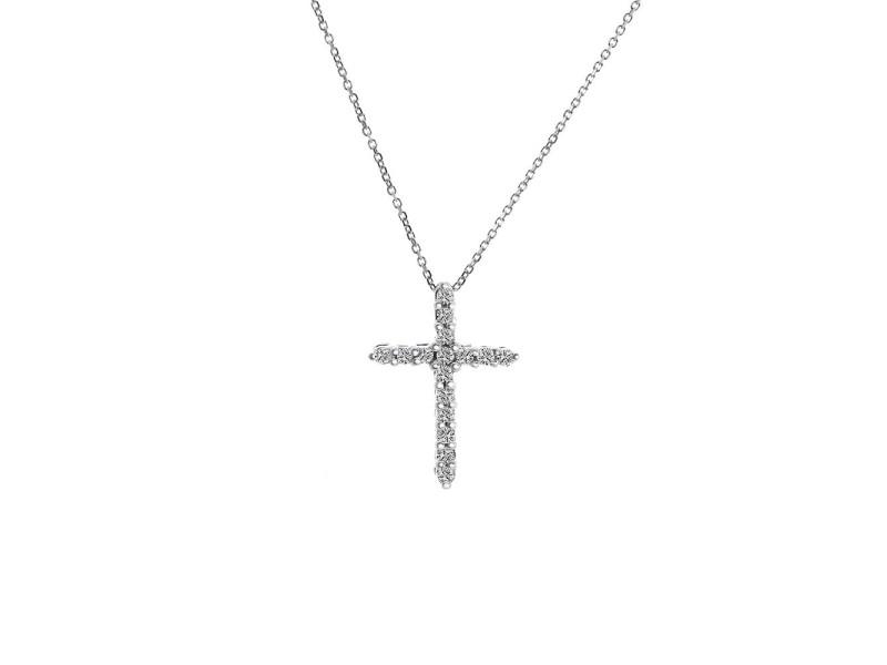 14K White Gold 0.30 Ct Round Cut Diamond Cross Pendant Necklace