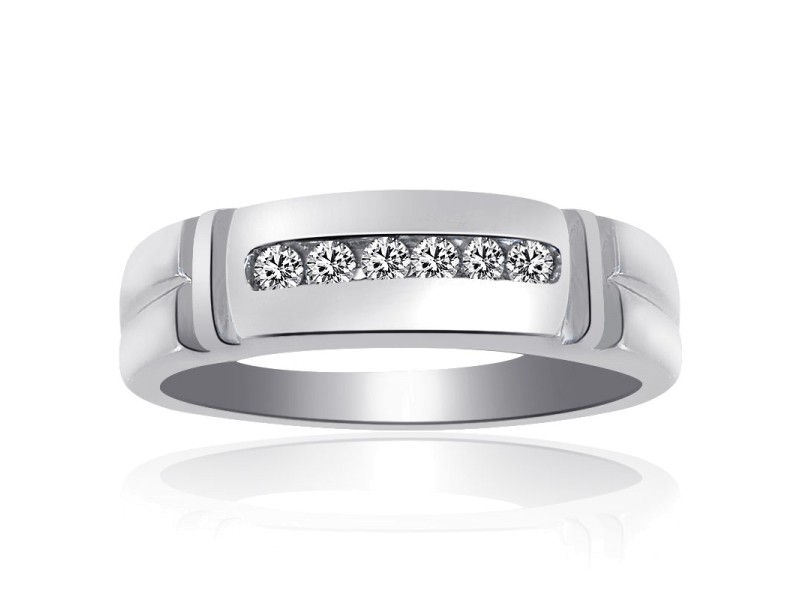 14K White Gold 0.25 Ct Round Cut Diamond Wedding Band Ring Size 10.25