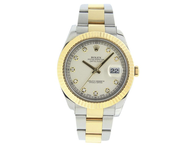 Rolex Datejust 2 116333 Oyster Stainless Steel & 18K Gold Ivory Diamond Dial Mens 41mm Watch