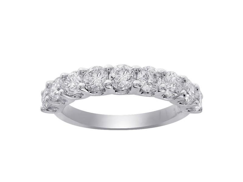 14K White Gold 2.00 Ct Diamond 9-Stone Wedding Anniversary Band Ring Size 6.5
