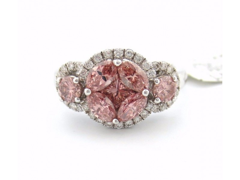 14K White Gold 1.20Ct Pink Diamond Marquise Princess and Round Flower Ring Size 6.5