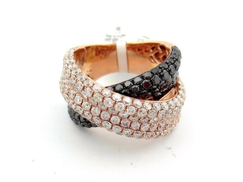 14K Rose Gold 4.39 Ct Round Brilliant White & Black Diamond X Cross Ring Size 7