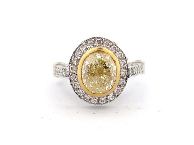 Platinum and 18K Yellow Gold 2.90 Ct Fancy Yellow Oval Diamond Soleste Ring Size 6