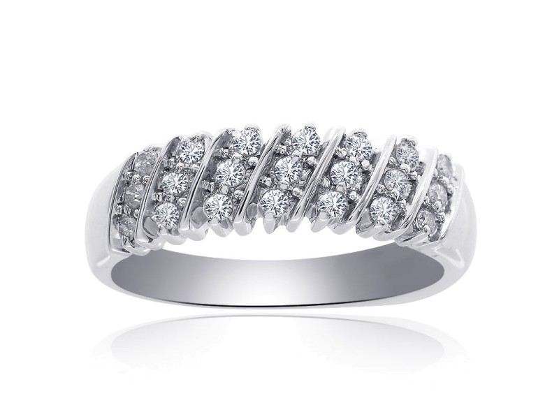 14K White Gold 0.25 Ct Diamond Round Cut Multi-Row Ring Size 7