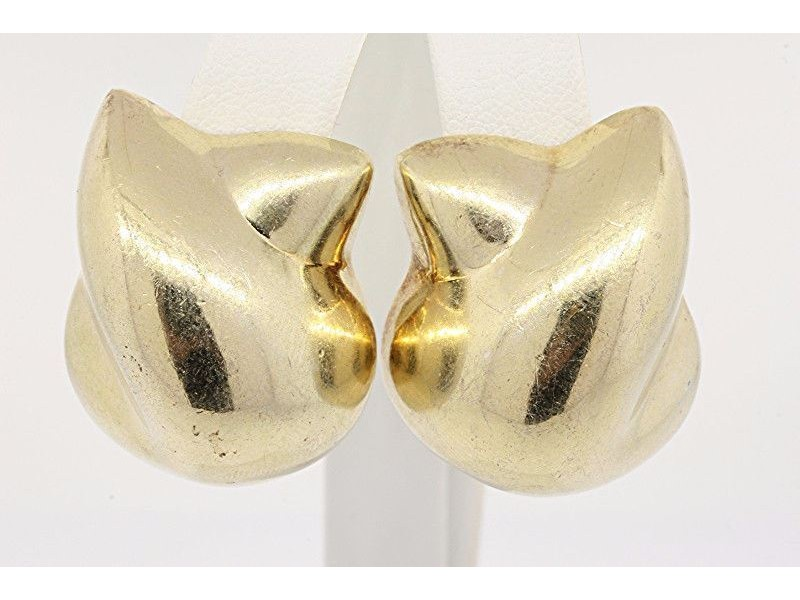Patrica Von Musulin Sterling Silver Gold Wash Large Clip On earrings Vintage
