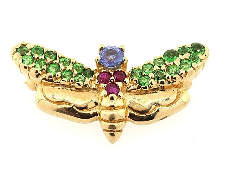 LeVian 14K Yellow Gold Sapphire, Ruby & Green Garnet Bug Bee Dragonfly Pin Brooch