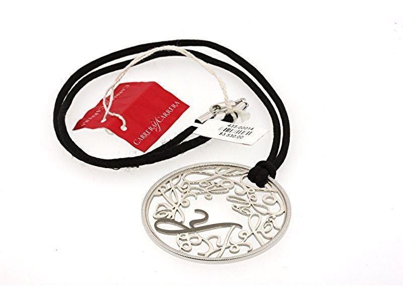 Carrera y Carrera 18K White Gold Monogram Cutout Design Silk Cord Circle Pendant Necklace