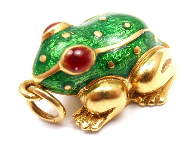 David Webb 18K Yellow Gold Green & Red Enamel Vintage Baby Frog Pendant