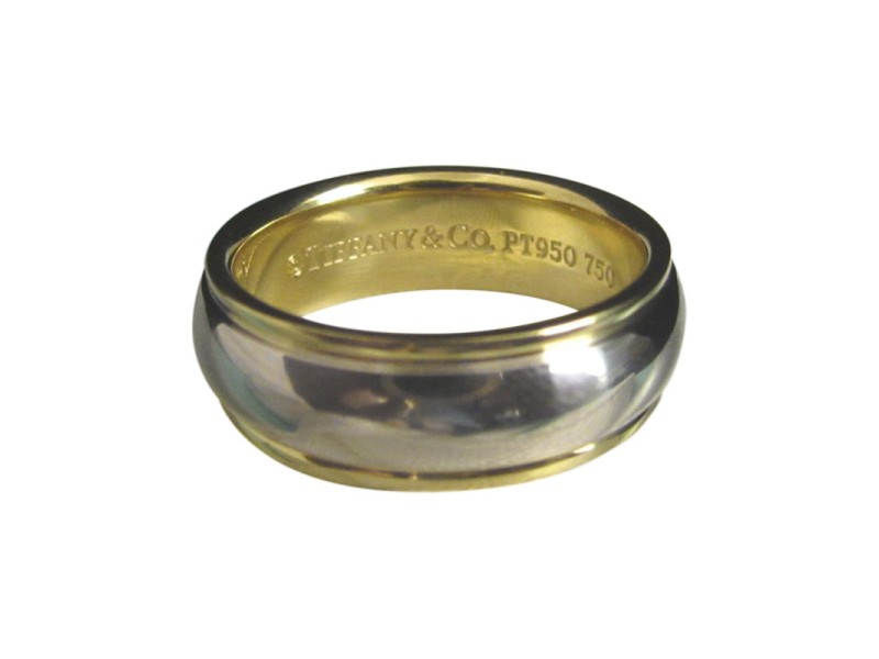 Tiffany & Co. Lucida Wedding Ring Platinum 18k Yellow Gold Size 12