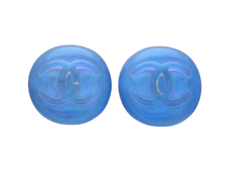 Chanel CC Blue Gripoix Earrings