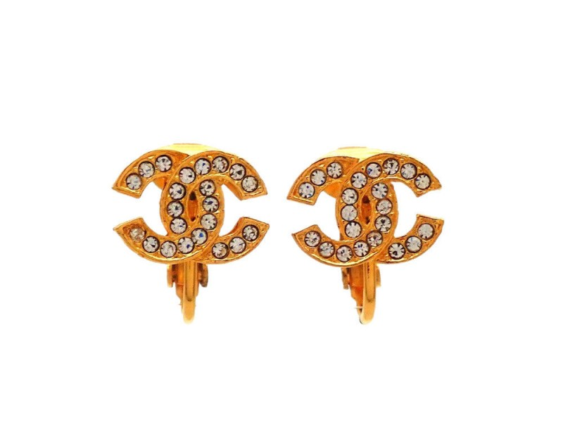 Chanel CC Gold Tone Rhinestone Vintage Earrings