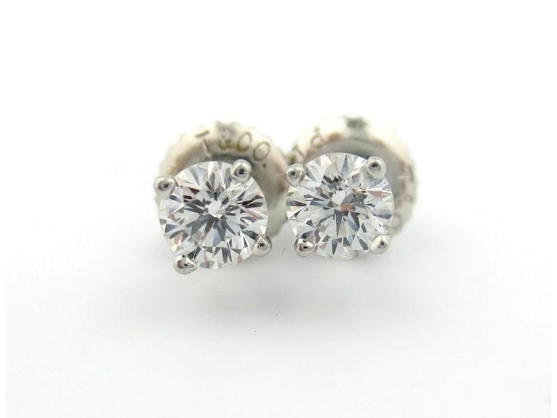 Tiffany & Co Platinum Round Diamond Stud Earrings .56Ctw E VS1