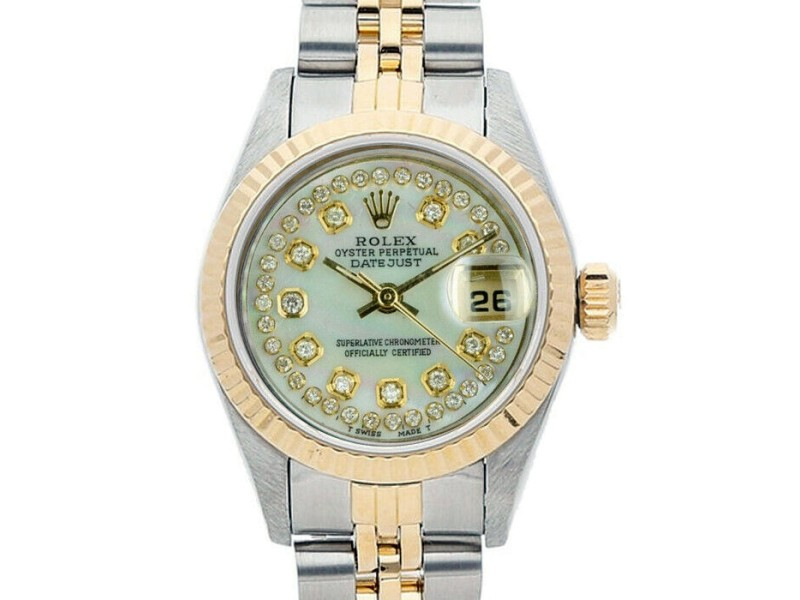 Rolex Datejust 6917 Women's White MOP Diamond Yellow Gold 26mm 1 Year Warranty